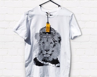 Hand screen printed 'King Leo' Adult slim fit T-shirt
