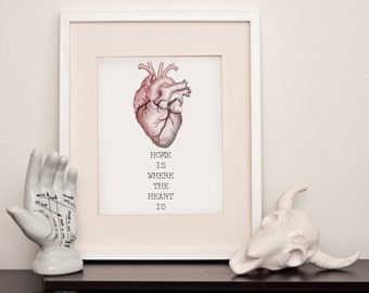 Home is where the heart is - Anatomical Heart - A4 Art Print