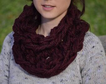 Warm Neckwarmer Knit Cowl. Burgundy Knit Comfort Cowl.