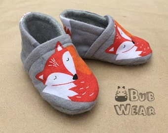 Handmade Soft Sole Baby Shoes/Booties in Cute Fox Pattern - 100% Cotton