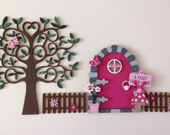 Pink Fairy Door Set with Fencing and Tree