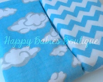 Set of two BLUE Flannel-backed Burp Cloths, Blue Chevron & Cloud Print