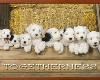 "Togetherness Puppy Framed Poster print 38"" x  26"",  Puppy Art Home Decor, Dog wall decor, pets wall art, Cute adorable puppy poster print"