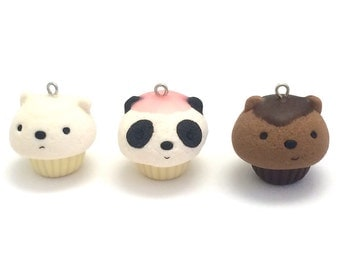 Kawaii Cute Bear Cupcakes Polymer Clay Charm