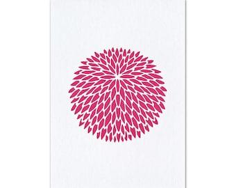 Postcard Japan Kamon Chrysanthemum pink