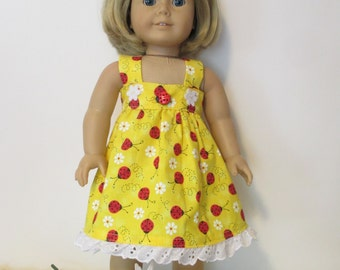 """Yellow Ladybug print dress ~  made for Truly Me,,Saige,McKenna,Isabelle any 18"""""""