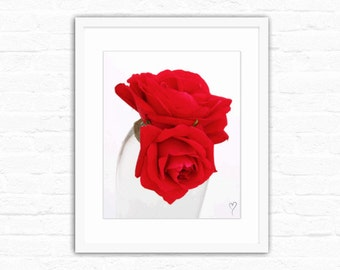 """Red Roses Photograph, Floral Photography, Red Art Print, Red Print, MODERN HOME DECOR, Red Home Decor, Gift for Her, """"Love Story"""""""
