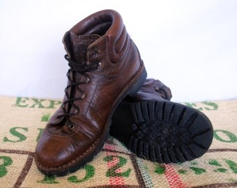 Raichle Swiss Hiking Boots - 80's vintage - Made in Switzerland – Alpine Mountaineer lumberjack Explorer boots Size EU 44, US M 11