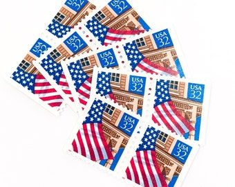 10 x 32 cents US Flag over Porch 1995 Unused Gummed US Vintage Postage Stamps for mailing, art projects, scrapbooking, postcrossing