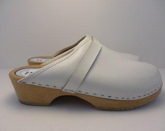 Vintage 80's  Natural Leder White leather clogs limewood size 40 EUR Swedish sz 9