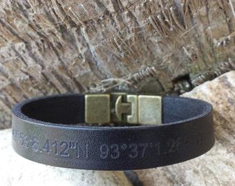 FREE SHIPPING- Men's Leather Bracelet, Bracelet For Men, Men's Personalized Wristband, Custom Bracelet, Leather Stamped Wristband