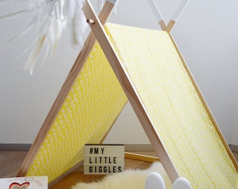 My Little Giggles A Frame Kids Play Tent / Teepee With Clothes Rack Conversion 150cm - Yellow Meadow