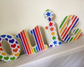 Handmade Rainbow,20cm wooden letters,baby,nursery decor,free standing,hanging,personalised,custom made,stars,hearts,dots,stripes,bright colo