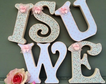 shabby chic wooden letters~decorated letters~baby nursery~wall hanging letters~baby girl shabby chic nursery decor~free standing letters~
