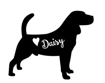 Beagle Decal // personalized Beagle decal // Beagle car decal // dog decal // personalized beagle