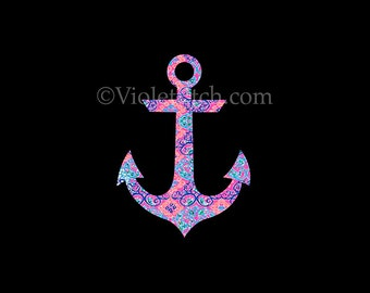 Anchor Decal-Lilly Inspired-Nautical Decal-Laptop Decal-Window Decal-Yeti Decal