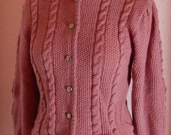 Vintage Dusky Pink Wool German Trachten Cardigan/ Size S/M