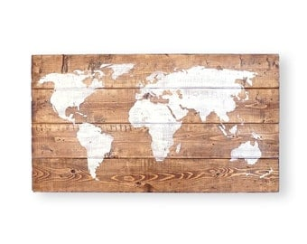 World Map Push Pin- Travel Theme Decor- Nursery World Map- Rustic Nursery Wall Art- Wood Wall Art- Gift for Men