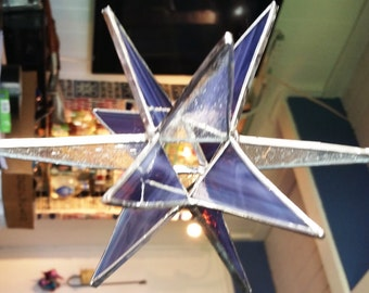 12 point purple and clear stained glass star.