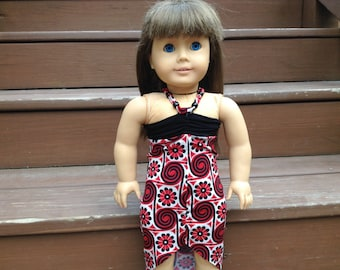 18 Inch Doll Clothes | Red, Black, and White High Low Halter Top Dress with a Beaded String Tie