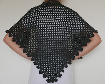 Flower Charcoal Gray Shawl Hand Crocheted 100% Cotton