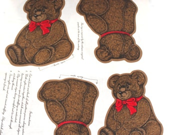 "Teddy Bear Pillow Fabric Panel 15"" x 11"" 9.5"" x 9"""