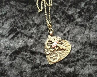 Heart and bug necklace