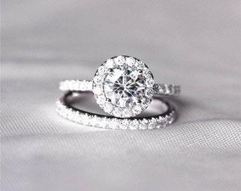 14K Round Moissanite Diamond, Halo Engagement Ring, Wedding set,  Moissanite Wedding set, Diamond, White Gold, Halo Diamond