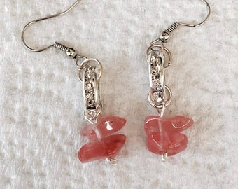 Handmade Genuine Pink Tourmaline Stone Crystal Roundelle Silver boho zen Dangle Jewelry Earrings