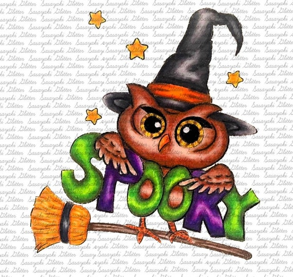 Spooky Owl  Digital Stamp by Sasayaki Glitter - Naz - Line art only