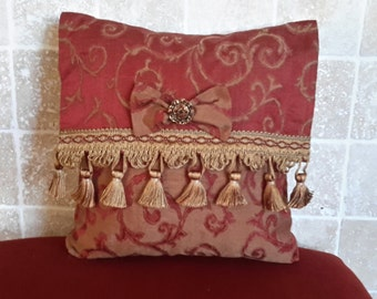 Red Silk Decorative Pillow - 12 inch