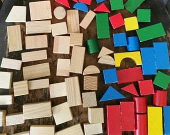 Building Blocks/75 Pieces/Neutral and Primary Colors/Different Shapes  and Sizes/ Learning/Classroom Toys/Nursery Decor/Wood Blocks/Shapes