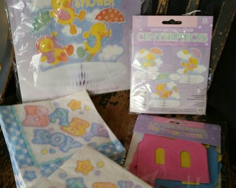 Vintage 1990s  Baby Shower Tabletop Decor/Honeycomb Centerpieces/Letter Banner/And One Unopened Pack and one opened pack of Baby Boy Napkins