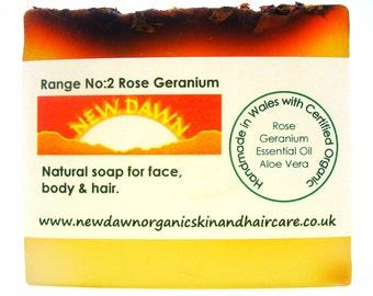 Rose Geranium Organic Soap - Handmade Soap ~ Vegan Soap ~ Natural Skin Care for Face and Body