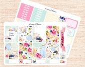 Tea Party Little Weekly Set (2 sheets matte planner sticker, fits perfect in Erin Condren Life Planner Vertical)