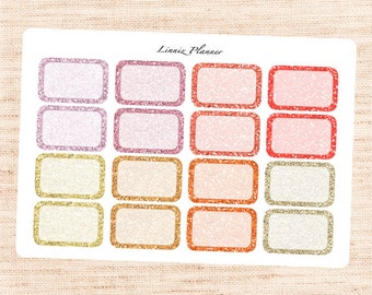 WARM Glitter Half Boxes (Matte planner stickers, fits perfect in Erin Condren Life Planner)
