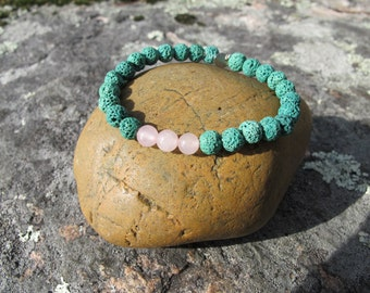 Turquoise Lava Rock and Rose Quartz