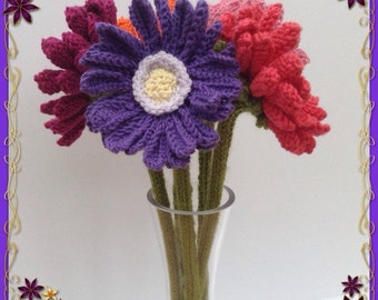 Hand knitted Gerbera Daisy, Gerber Daisy, Floral Display, Knitted Flower