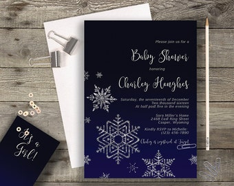 Navy Shower Invite Baby Shower Invitation Printable Modern Typography Navy Baby Shower Winter Baby Shower