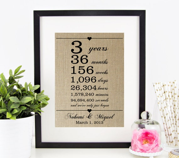 3rd Wedding Anniversary Gift For Husband : ... Print 3rd Anniversary Third Anniversary Gift for Husband Wife