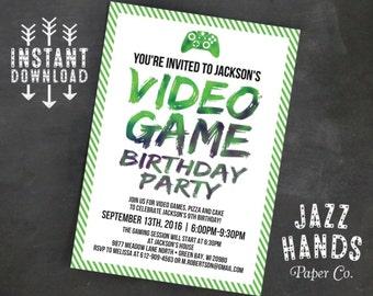 Printable Video Game Birthday Invitation Template | DIY | Video Game Invitation | Gaming Party | Video Game Birthday | Boy Birthday