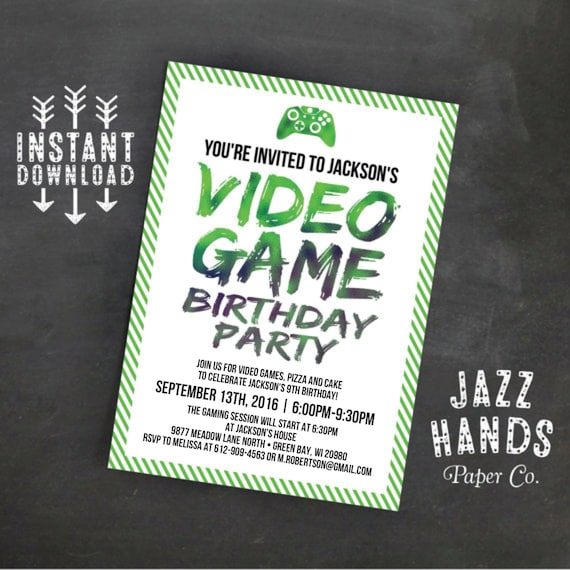 Printable video game birthday invitation template diy video game il570xn stopboris Choice Image