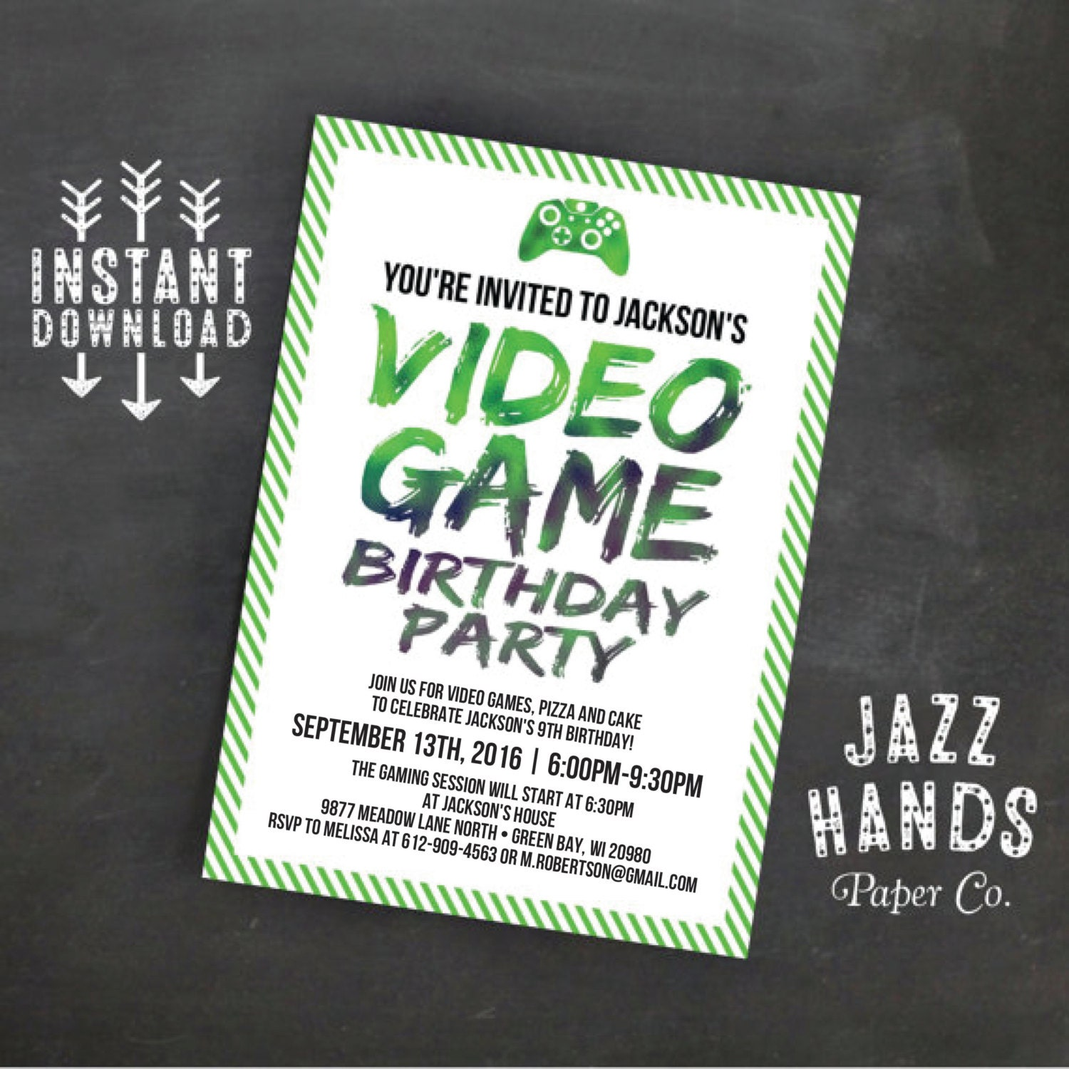 printable video game birthday invitation template diy