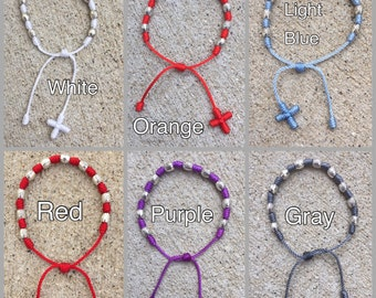 Tibetan Eye Rosary Bracelet - now available in 42 string colors - choose with cross or no cross