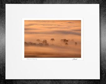 Matted Color Print, Willamette Valley Fog, Fine Art Photography, Signed Open Edition Color Print, Photo Decor, Langscape, Warm Sunrise Color