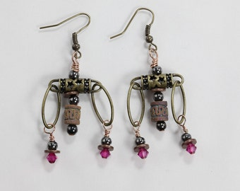 Swarovski Crystal & Brass Earrings, Clay Bead and Brass Earrings
