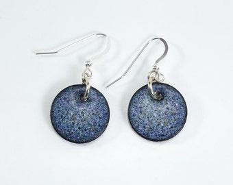 Blue Speckled Copper Penny Earrings Silver Filled Metal Enamel Earrings Blue Round Earrings