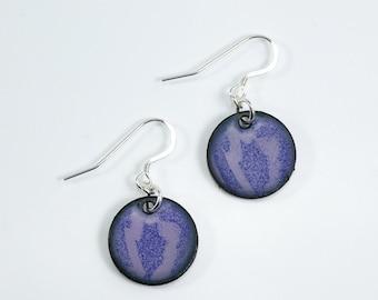 Sterling Silver Metal Enamel Earrings Copper Penny Purple Earrings Round Earrings