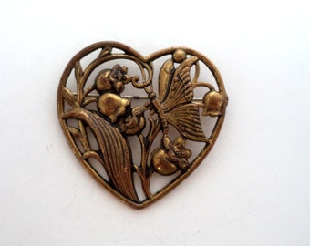 Vintage Art Nouveau Style Lillies of the Valley Butterfly Heart Brooch Antiqued Gold Tone