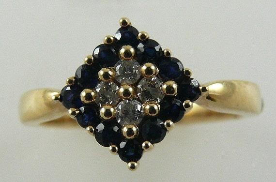 Sapphire 0.50ct Ring 14k Yellow Gold & Diamonds 0.13ct